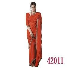 Starmart Womens Cotton Straight Dress Material Lt Saffron Georgette Sarees 42011