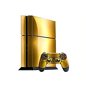 Sony PlayStation 4 Skin (PS4) - NEW - BRUSHED GOLD system skins faceplate  decal mod