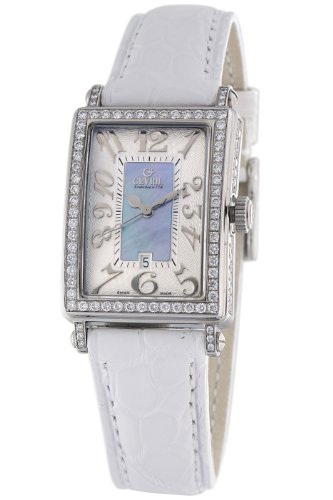Gevril Women's 7247NV.1 Blue Mother-of-Pearl Genuine Alligator Strap Watch