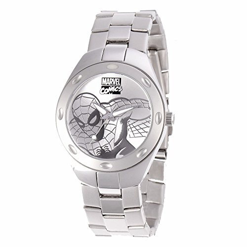 Marvel Adult Size 40mm Case Silver-Tone Spiderman Watch