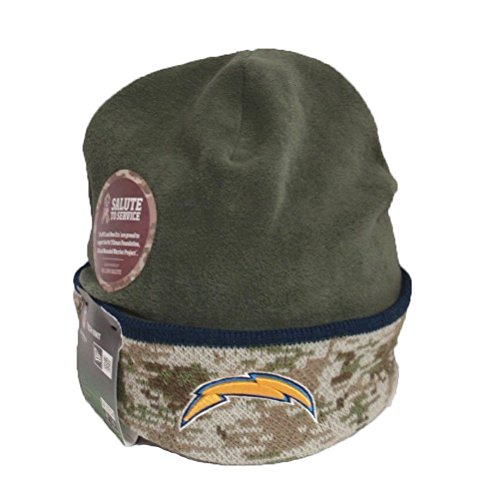 New Era NFL San Diego Chargers Camo 2014 Salute to Services Fleece Knit Beanie Cap Hat (2014 Salute Service compare prices)