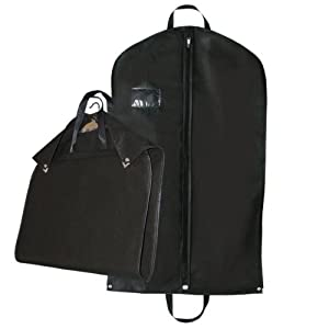 "Hangerworld Single Black Breathable Suit Cover Carrier Bag for Travel - With Handles & Stud Fastening 39"" (100cm)"