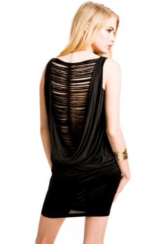 Deconstructed Back Dress in Black