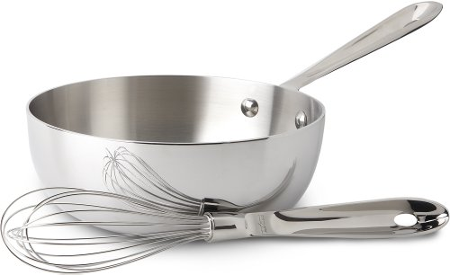 All-Clad BD552123 D5 Brushed 18/10 Stainless Steel 5-Ply Bonded Dishwasher Safe Saucier With Whisk Cookware, 2-Quart, Silver