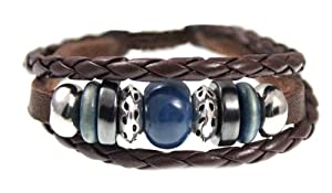 Karma Bead Leather Zen Bracelet For Men, Women, Teen, Student in Gift Box