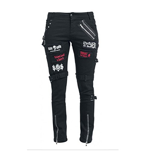 - KuroNeko Black Punk Trousers 205788 Punk GOTHIC Metal pantaloni di roccia nero S