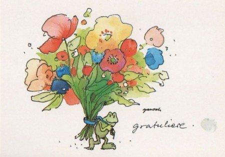 Janosch Postkarte Frosch mit Blumenstrauß