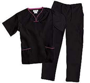 Natural Uniforms Contrast Trim Scrub Top & Pant Set (Black/Hot Pink XS)
