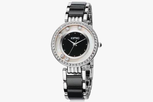 44 Black Five Diamond Dial Imitation Ceramic Diamond Bracelet Analog Display Japanese Quartz Two Tone Watch