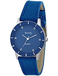 Howdy Analog Blue Dial With Blue Leather Strap Watch- For - Women's & Girl's Ss381