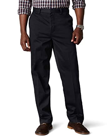 Dockers Men's Signature Khaki D3 Classic Fit Flat Front Pant,Navy,44x34