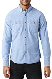 North Coast Pure Cotton Slim Fit Chambray Shirt [T25-5810N-S]