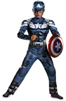 Disguise Marvel Captain America The Winter Soldier Movie 2 Captain America Classic Muscle Boys Costume, Large (10-12)