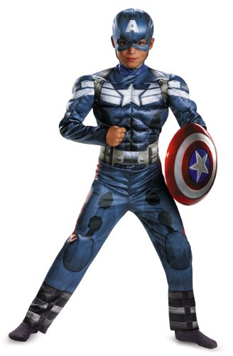Disguise Marvel Captain America The Winter Soldier Movie 2 Captain America Classic Muscle Boys Costume, Small (4-6) front-1018217