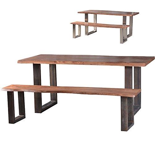 Esstisch-mit-Bank-Luis-aus-Massivholz-mit-Stahlrahmen-Akazie-Formfrei-Jedes-Teil-ein-Unikat-Essgruppe-Sitzbank-2-Farben-Holzbank-wetterfest-Massivholzmbel-hohe-Qualitt-Massivholztisch-Holztisch-modern