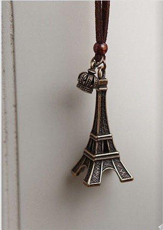 Buyinhouse Personal Decoration Accessories Antique Brass Vintage Adorable Cute Crown & Eiffel Tower Cord Necklace