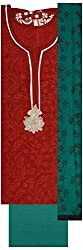 Pal-Pal Women's Art Silk Dress Material (PAL-PAL-A01, Red & Turquoise)