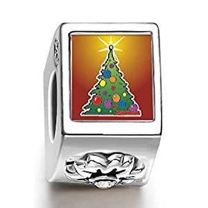 Soufeel 925 Sterling Silver Bright Christmas Tree White Crystal Stone Flower Photo Charms