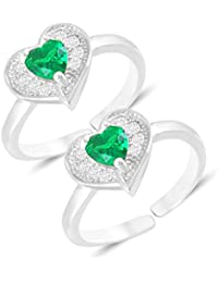 MJ 925 Heart Pattern CZ Embedded 92.5 Sterling Silver Toe Rings For Women In Rhodium Finish