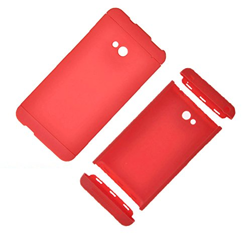 Heartly Double Dip Flip Hard Shell Premium Bumper Back Case Cover For HTC One 802D 802T 802W - Red Red Red