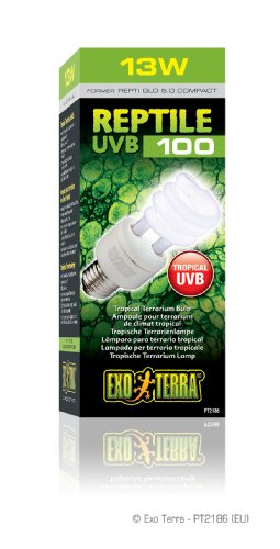 Exo Terra Repti-Glo 5.0 Compact Fluorescent Tropical Terrarium Lamp, 13-Watt