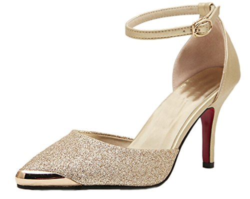 Littleboutique Metalic Pointed Toe Kitten Heel Pump D¡¯Orsay Lady Evening Pumps Ankle Strap Prom Shoe Gold 8
