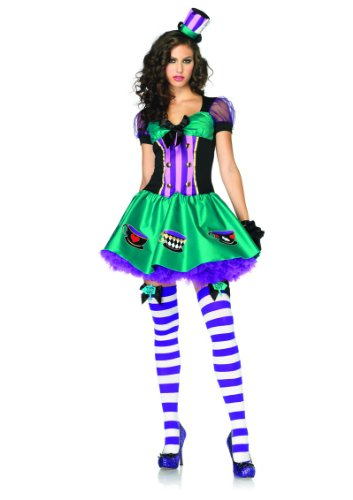 2 Piece Ribbon Trimmed Teacup Mad Hatter Costume in Green/Purple, Sizes Xsmall (UK 6) – Medium/Large (UK 10-12)