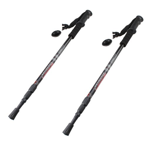 Image® 2Pcs Black Lightweight Outdoor Mountain Climbing Hiking Walking Trekking Anti Shock Adjustable Trekking Sticks Poles (6061 Aluminum)