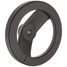 "2 Spoked Black Powder Coated Aluminum Dished Hand Wheel, 5"" Diameter, 3/8"" Hole Diameter (Pack of 1)"