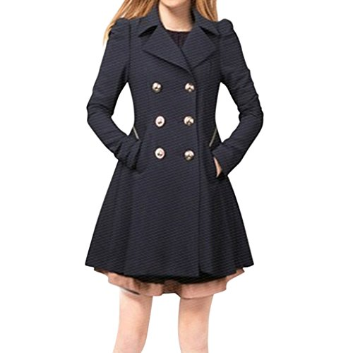 Hee Grand Women OL Slim Double-Breasted Trench Coat Pleated Outwear Overcoat Chinese XXL Navy
