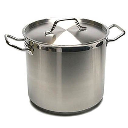 New Professional Commercial Grade 40 QT (Quart) Heavy Gauge Stainless Steel Stock Pot, 3-Ply Clad Base, Induction Ready, With Lid Cover NSF Certified Item