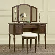 Big Sale Warm Cherry Vanity with Mirror and Upholstered Stool