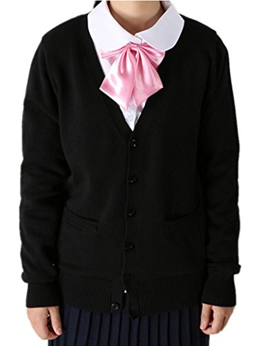[ROLECOS Girls Japanese Preppy Style School Uniform Sweater Cardigans Black XL] (Preppy School Girl Costumes)