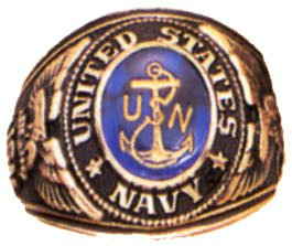 Navy Deluxe Engraved Ring, 10
