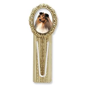 Gold-tone Sheltie Victorian Bookmark