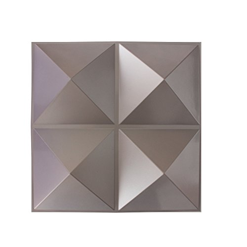 Generic Plastic Wall Panels 3d Decorative Waterproof Pvc Wall Board (Pack of 12) 50x50cm 3sqm Color Light Grey (Pvc Wall Panels compare prices)