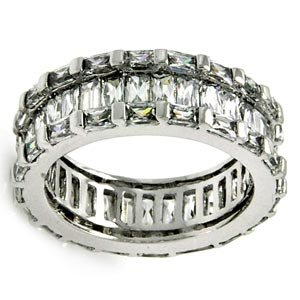 Sterling Silver Baguette Cubic Zirconia Eternity Wedding Ring (7.85 mm)
