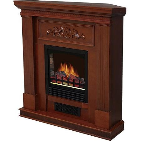 """Modern Dark Walnut Wood Ventless Electric Heater Fireplace with 38"""" Mantle and Temperature Control   Add Warmth and Style to Your Home with Realistic Adjustable Flame and Heats a Room up to 400 Sq Ft   Perfect for Your Living Room and Bedroom Area"""