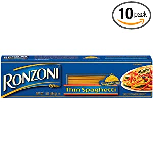 Ronzoni Thin Spaghetti, 16-Ounce (Pack of 10)