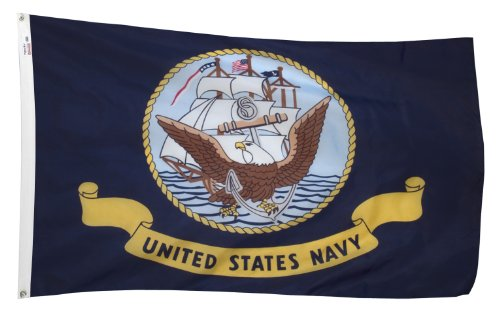 Valley Forge Flag 3-Foot by 5-Foot Nylon United States Navy Flag