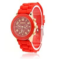 ZPS Unisex Geneva Silicone Jelly Gel Quartz Analog Sports Wrist Watch Hot Sale (Red)
