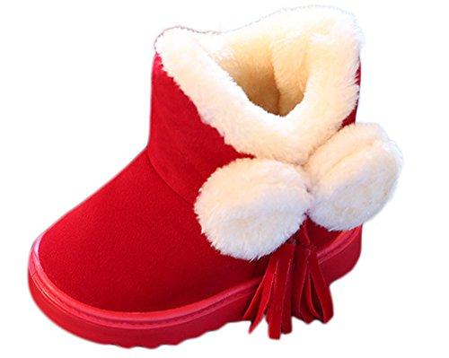 SaiDeng Unisex Bambini Bowknot Calde Imbottito Stivali da Neve Stivaletti di Cotone Rosso 26