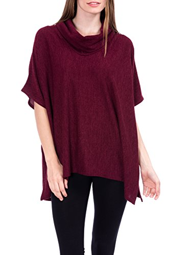 Modern Kiwi Knit Cowl Neck Caftan Poncho Tunic Burgundy One Size (Knit Cowl Poncho compare prices)