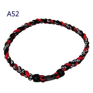 "Titanium Tornado Baseball Necklace Red Black 18"""