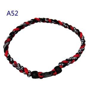 "Leegoal Baseball Necklace Red Black 18"""