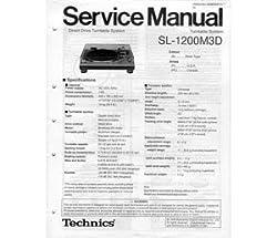 Technics Service Manual SL1200M3D by Technics