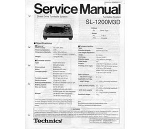Technics Service Manual SL1200M3D by Technics