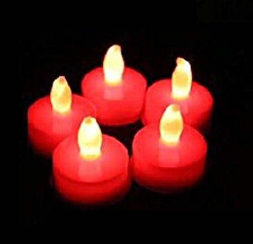Domire Set Of 12 Red Led Candles, Flameless Tea Lights For Decoration, Festivals, Weddings With Batteries