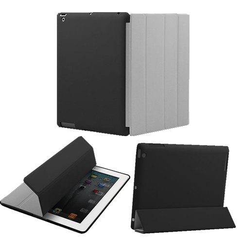 KHOMO DUAL CASE: Grey Polyurethane Smart Cover FRONT + Hard Rubberized Poly-carbonate BACK Protector for Apple iPad 2