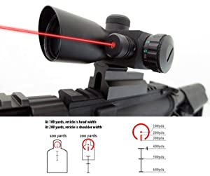 Monstrum 4x30 Compact Tactical Rifle Scope with Illuminated BDC Reticle, Integrated Rail Mount, and Built-In Red Laser Sight